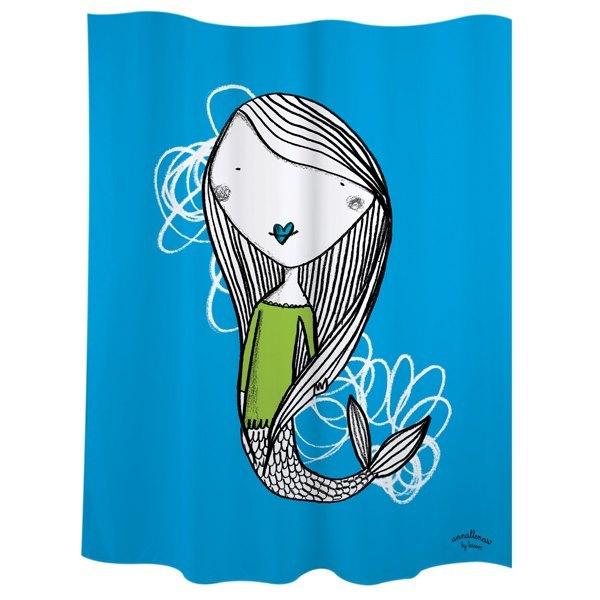 Cortina baño sirena azul