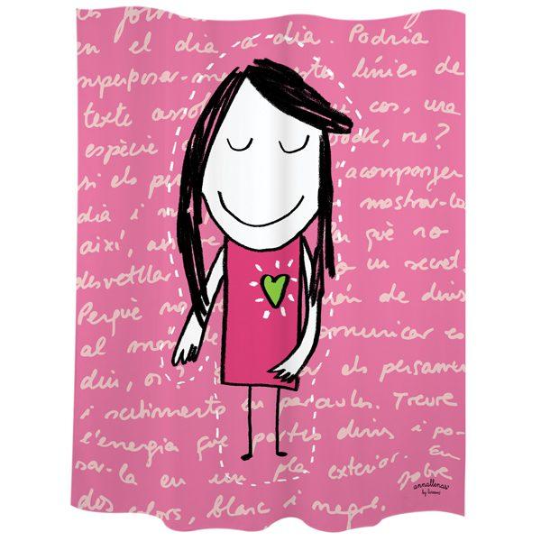Cortina baño niña rosa