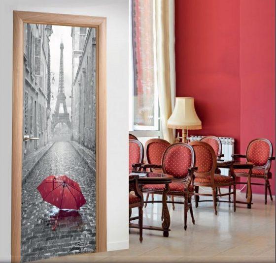 Vinilo decorativo adhesivo para puertas Paris