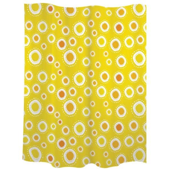 Cortina baño círculos amarillos
