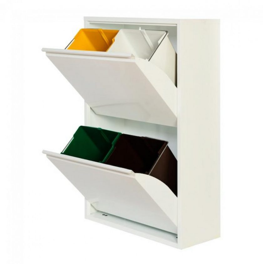 Cubo reciclaje 4 blanco abierto