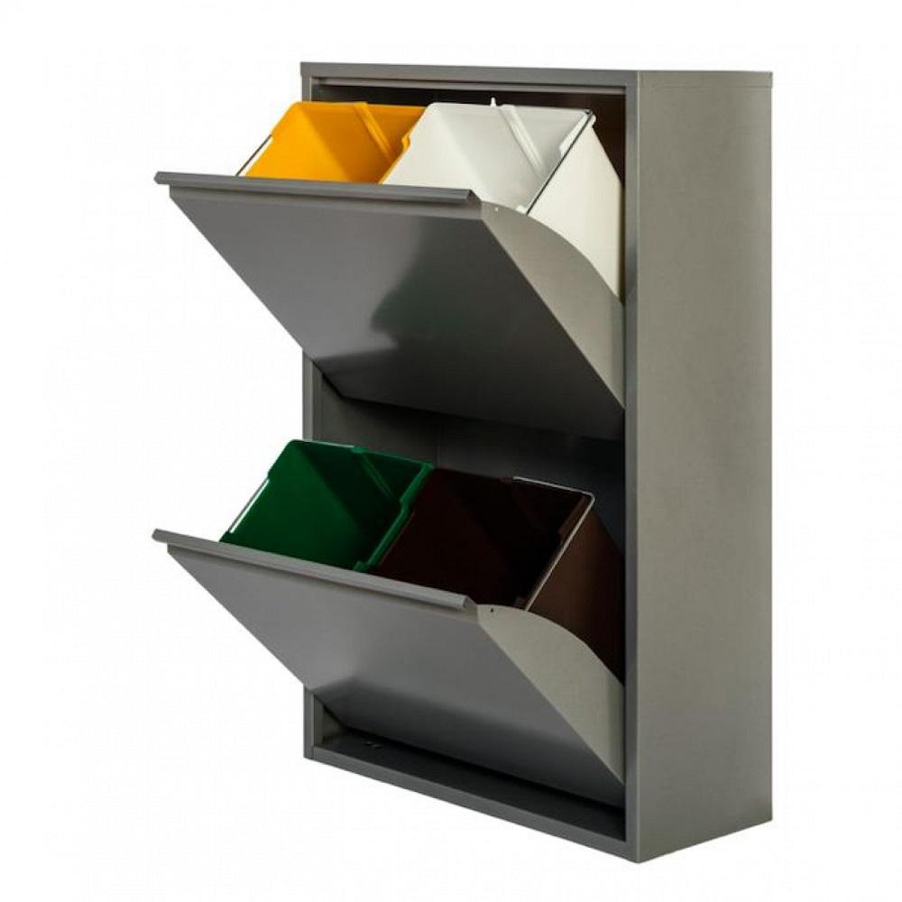 Cubo de reciclaje 4 gris